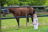 Cute funny baby playing with a horse on a farm in summer