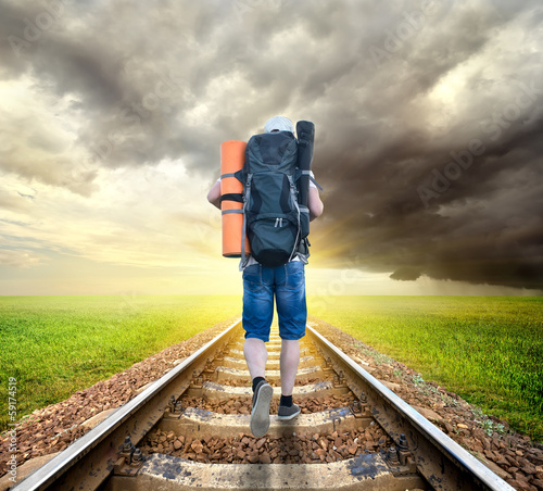 Tourist on the railroad