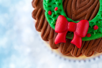 Close up of Christmas cupcake