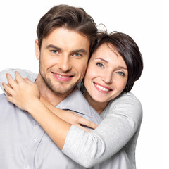 Closeup portrait of beautiful  happy couple - isolated