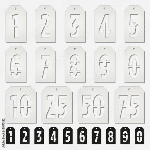 hang tags stencil numbers cards