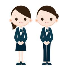 紺色の制服の女性社員
