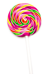Sweet Vibrant Lollipop For Children On White Background