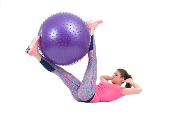 Sport woman exercise with a pilates ball