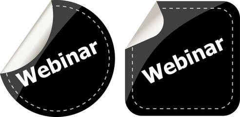 webinar word on black stickers button set, label, business