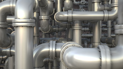 Maze of pipeline. Industrial 3d animation