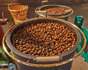 Roasted chestnuts at street vendor
