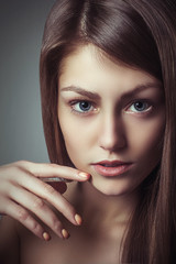 Beauty glamour portrait young woman perfect natural makeup look