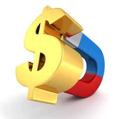 magnt attract money golden dollar symbol concept