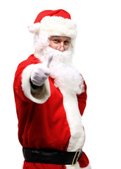 father Christmas or Santa Claus giving thumb up