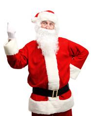 Portrait of happy Santa Claus have an idea. Idea gesture.