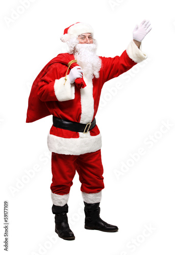 Santa Claus gesturing his hand. Presenting something