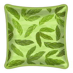 Decorative pillow, green leaves pattern