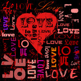 love illustration, hearts and words, grungy style, vector