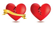 Broken red heart with gold ribbon