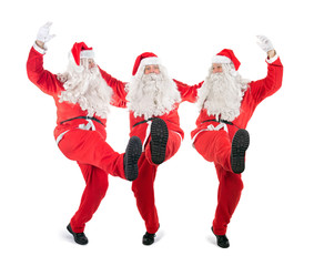Trio Santa Claus on white background