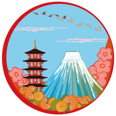 japanese landmark. Mt fuji. 富士山と日本の風景