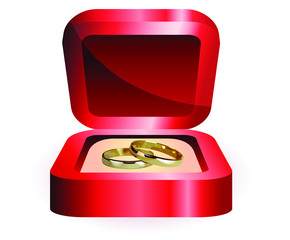 a pair of gold rings in the red box wedding