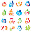 happy family icons, vector symbols collection