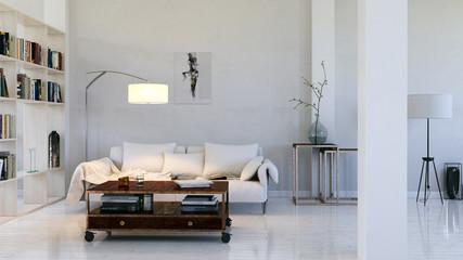 sofa in weißer wohnung - sofa in a loft apartment