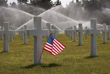 American flag on Omaha Beach Cemetry
