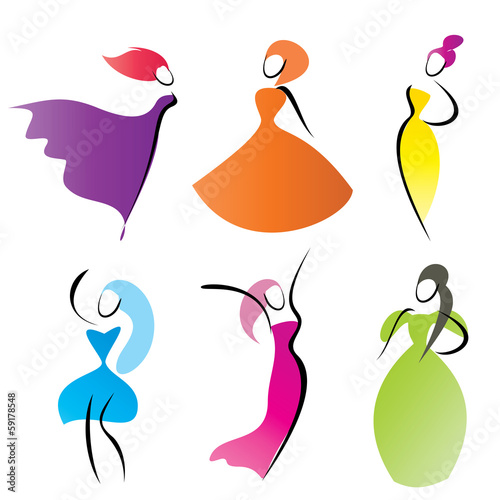 fashionable women vector silhouettes, stylized symbols