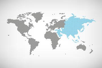 Asien in Welt-Karte