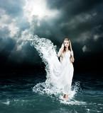 Fototapety Mystic Goddess in Stormy Sea