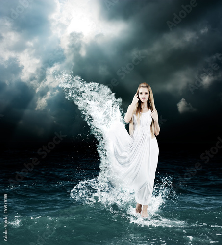 Mystic Goddess in Stormy Sea