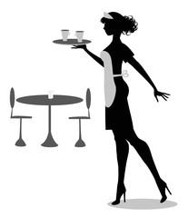 silhouette di cameriera con vassoio e tazze