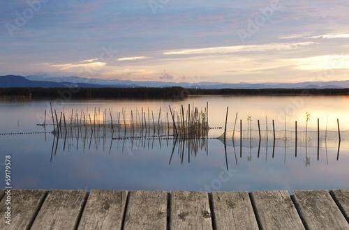 Foto Spatwand Een Hoekje om te Dromen reflejos en el lago