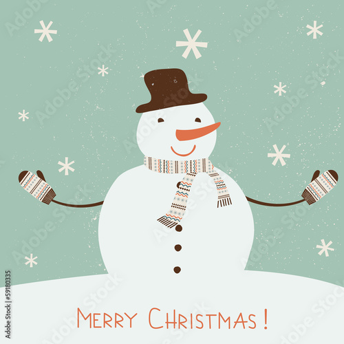 Christmas card with stylized snowman.