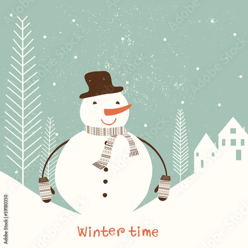 Christmas card with snowman. Vector