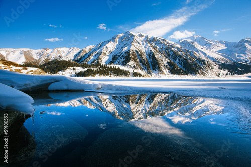 Big Almaty lake on december.