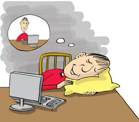 Man sleeping at work table but dreaming about work, cartoon