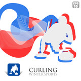 Vector Winter Sports background with Curling player and icon