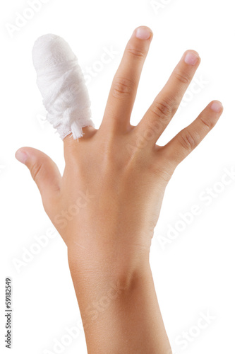 Hand with a bandaged finger bandage