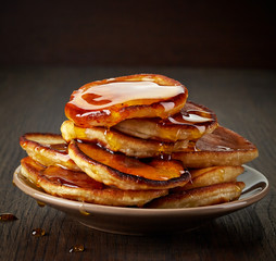 pancakes with maple syrup on plate