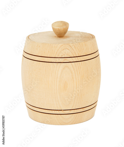 Saltshaker keg of wood isolated on white background.
