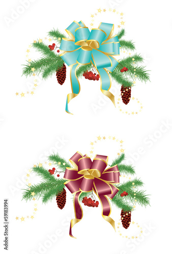 The composition of fir branches with cones, berries and bow