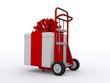 Roter Karren mit Geschenk