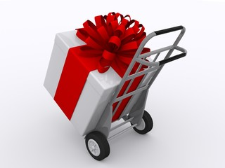 Sackkarren mit Geschenk