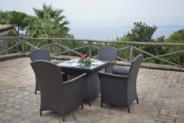 rattan outdoor garden woven brown tables and chairs