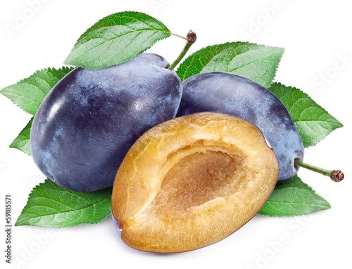Plums with leaves.