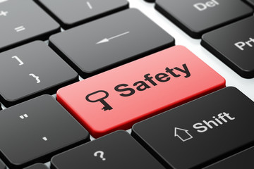 Privacy concept: Key and Safety on computer keyboard background