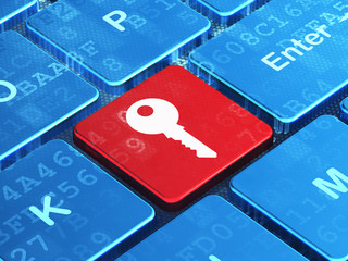 Security concept: Key on computer keyboard background