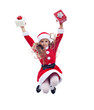 Little santa claus girl jumping high with presents