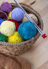 Colorful yarn for knitting in basket