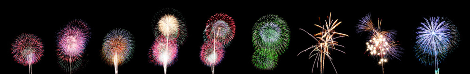 Nine style of Fireworks or firecracker.