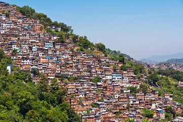 View of Poor Living Area on the Hills of Rio de Janeiro, Brazil